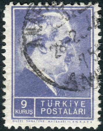 mustafa: TURKEY - CIRCA 1942: Postage stamp printed in Turkey, depicted the 2nd President of Turkey, Mustafa Ismet Inonu, circa 1942