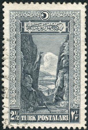 depicted: TURKEY - CIRCA 1926: Postage stamp printed in Turkey, depicted Sakarya Gorge, circa 1926