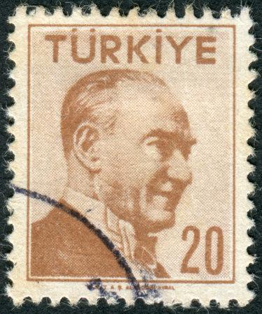 mustafa: TURKEY - CIRCA 1956: Postage stamp printed in Turkey, depicted the 1st President of Turkey, Mustafa Kemal Pasha (Ataturk), circa 1956