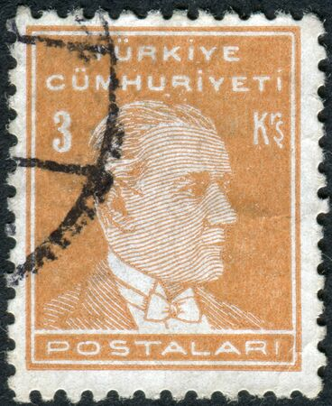 mustafa: TURKEY - CIRCA 1938: Postage stamp printed in Turkey, depicted the 1st President of Turkey, Mustafa Kemal Pasha (Ataturk), circa 1938
