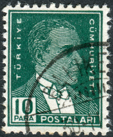 mustafa: TURKEY - CIRCA 1931: Postage stamp printed in Turkey, depicted the 1st President of Turkey, Mustafa Kemal Pasha (Ataturk), circa 1931