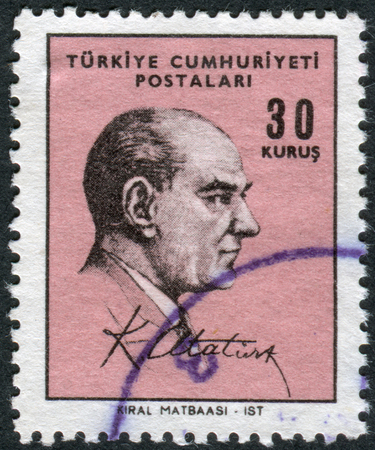 mustafa: TURKEY - CIRCA 1966: Postage stamp printed in Turkey, depicted the 1st President of Turkey, Mustafa Kemal Pasha (Ataturk), circa 1966