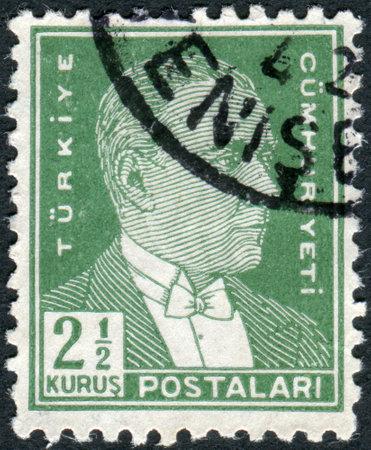 ataturk: TURKEY - CIRCA 1931: Postage stamp printed in Turkey, depicted the 1st President of Turkey, Mustafa Kemal Pasha (Ataturk), circa 1931