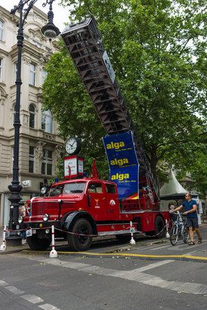 antique fire truck: BERLIN - JUNE 14, 2015: Fire engine with turntable ladder Krupp Tiger, 1956. The Classic Days on Kurfuerstendamm.