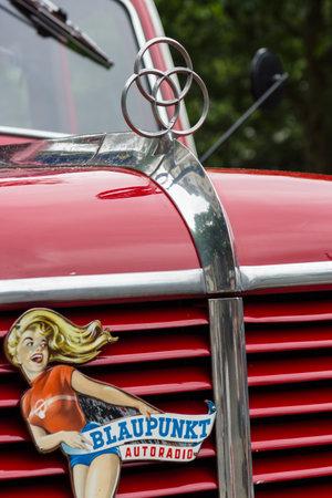 antique fire truck: BERLIN - JUNE 14, 2015: Fragment of a fire truck Krupp Tiger, 1956. The Classic Days on Kurfuerstendamm.