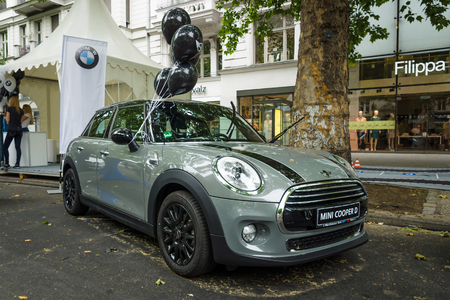 cooper: BERLIN - JUNE 14, 2015: Modern compact car Mini Cooper D. The Classic Days on Kurfuerstendamm. Editorial