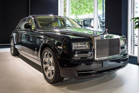 phantom: BERLIN - JUNE 14, 2015: Full-size luxury car Rolls-Royce Phantom Series II (since 2012). The Classic Days on Kurfuerstendamm.