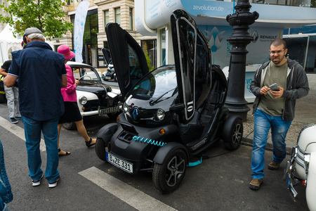 ze: BERLIN - JUNE 14, 2015: Electric car two-passenger electric vehicle Renault Twizy Z.E. The Classic Days on Kurfuerstendamm. Editorial