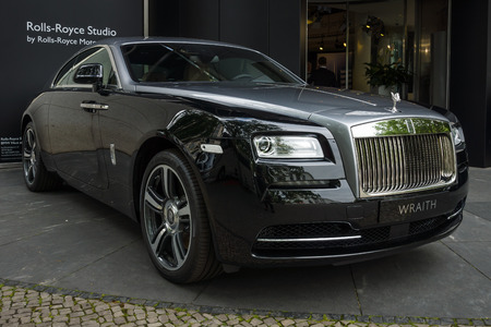wraith: BERLIN - JUNE 14, 2015: Full-size luxury car Rolls-Royce Wraith (since 2013). The Classic Days on Kurfuerstendamm.