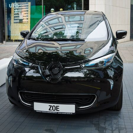ze: BERLIN - JUNE 14, 2015: Supermini electric car Renault Zoe. The Classic Days on Kurfuerstendamm. Editorial