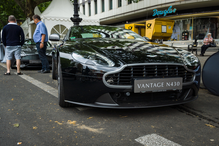 v8: BERLIN - JUNE 14, 2015: Luxury sports car Aston Martin V8 Vantage N430 (since 2015). The Classic Days on Kurfuerstendamm.