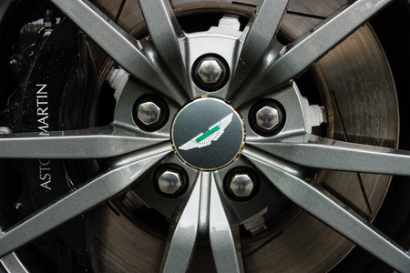 v8: BERLIN - JUNE 14, 2015: The front brakes of a luxury sports car Aston Martin V8 Vantage N430 (since 2015). The Classic Days on Kurfuerstendamm.