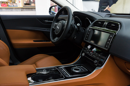 BERLIN - JUNE 14, 2015: Cabin of the compact executive car Jaguar XE 20D (since 2015). The Classic Days on Kurfuerstendamm. Editorial