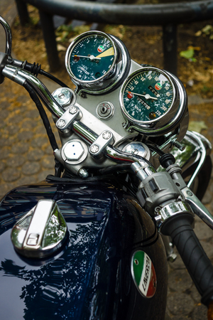 sf: BERLIN - JUNE 14, 2015: The dashboard of a motorcycle Laverda 750 SF. The Classic Days on Kurfuerstendamm.