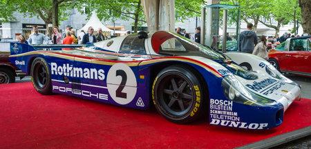 sportscar: BERLIN - JUNE 14, 2015: Racing car Porsche 956 designed by Norbert Singer, 1982. The Classic Days on Kurfuerstendamm.