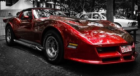 stylization: BERLIN - JUNE 14, 2015: Sports car Chevrolet Corvette C3 Stingray coupe. Stylization. Toning. The Classic Days on Kurfuerstendamm. Editorial