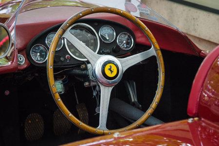 BERLIN - JUNE 14, 2015: Cockpit of a sports car Ferrari 500 TR, 1956. The Classic Days on Kurfuerstendamm.