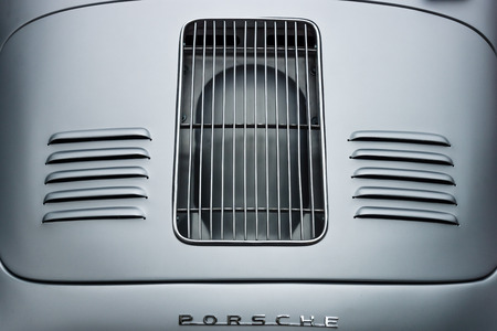 speedster: BERLIN - JUNE 14, 2015: Air vents of the engine compartment of a sports car Porsche 356 Speedster. The Classic Days on Kurfuerstendamm.