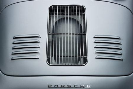 BERLIN - JUNE 14, 2015: Air vents of the engine compartment of a sports car Porsche 356 Speedster. The Classic Days on Kurfuerstendamm.