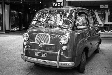 mpv: BERLIN - JUNE 14, 2015: Mini MPV Fiat 600 Multipla. Black and white. The Classic Days on Kurfuerstendamm.