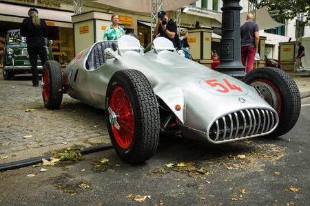 alfa: BERLIN - JUNE 14, 2015: Custom race car, based Alfa Romeo and engine of BMW 328, 1951. Designer Karl Baum, pilot Willibald Heller. The Classic Days on Kurfuerstendamm.