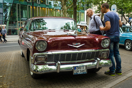 bel air: BERLIN - JUNE 14, 2015: Full-size car Chevrolet Bel Air (Second generation), 1956. The Classic Days on Kurfuerstendamm.