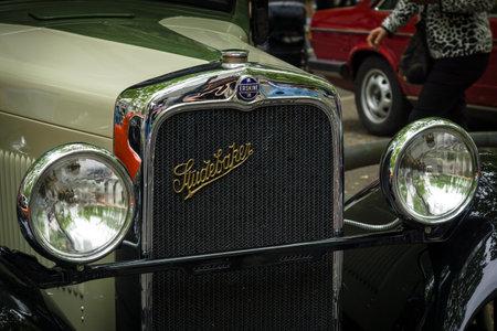 51: BERLIN - JUNE 14, 2015: Fragment of Erskine (Studebaker) Model 51 Sedan, 1928. The Classic Days on Kurfuerstendamm.