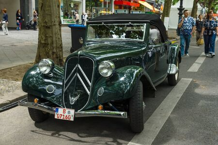 traction: BERLIN - JUNE 14, 2015: Mid-size luxury car Citroen Traction Avant. The Classic Days on Kurfuerstendamm.