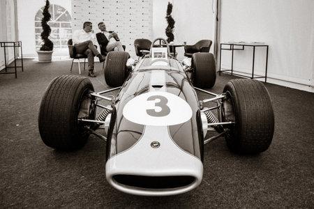 BERLIN - JUNE 14, 2015: Racing car Formula-2, Brabham BT23-5, pilot Jochen Rindt, 1967. Stylization. Toning. The Classic Days on Kurfuerstendamm.
