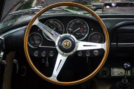 alfa: BERLIN - JUNE 14, 2015: Cabin of a luxury car Alfa Romeo 2600 Spider (Tipo 106), 1963. The Classic Days on Kurfuerstendamm.