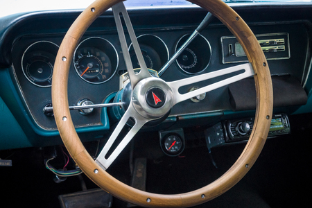 the tempest: BERLIN - JUNE 14, 2015: Cabin of a mid-size car Pontiac Tempest, 1967. The Classic Days on Kurfuerstendamm.