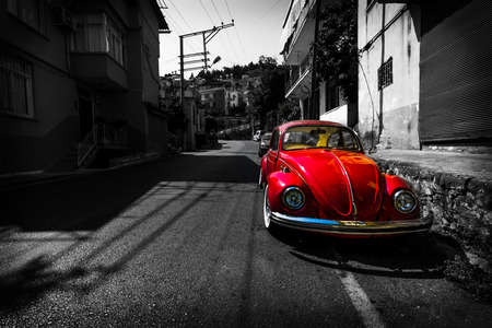 ALANYA, TURKEY - JULY 09, 2015: Vintage car Volkswagen Beetle on the streets of Alanya. Alanya a popular Mediterranean resort. Stylization. Toning.