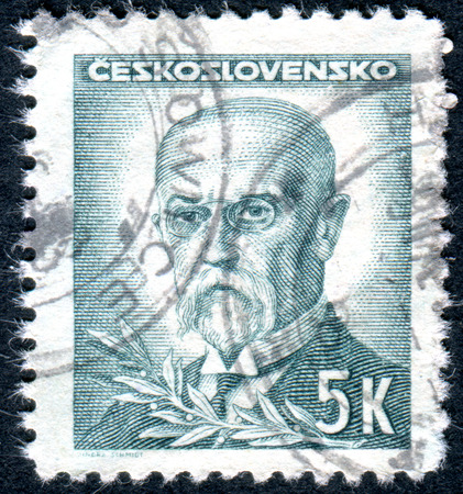 sociologist: CZECHOSLOVAKIA - CIRCA 1945: A stamp printed in the Czechoslovakia, shows the first president of Czechoslovakia, Thomas Masaryk, circa 1945