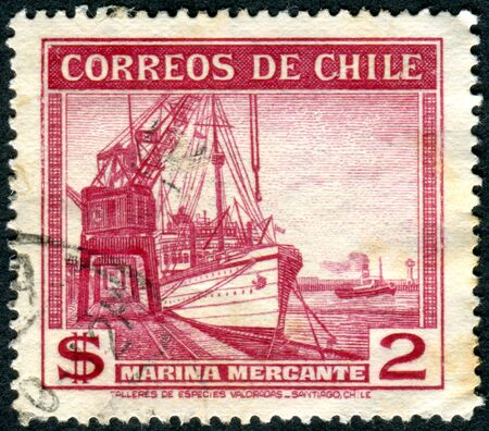 merchant: CHILE - CIRCA 1939: Postage stamp printed in Chile, shows steamship�merchant fleet Poderoso, circa 1939 Editorial