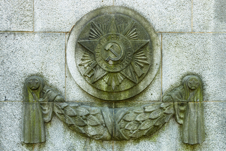 treptow: The Soviet War Memorial in Treptow Park. Decorative elements in the form of the Order of Patriotic War. Berlin. Stock Photo