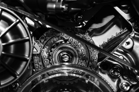 throttle: Detail of the engine. Close-up. Black and white.