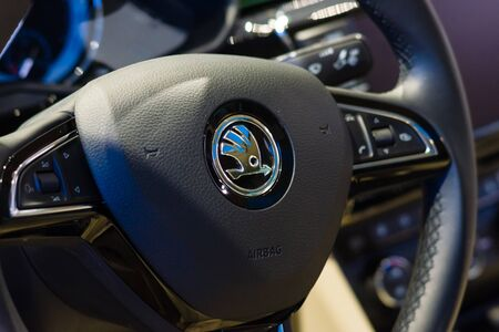 superb: BERLIN - AUGUST 08, 2015: Showroom. Steering wheel of a large family car Skoda Superb (Third generation). Produced since 2015.
