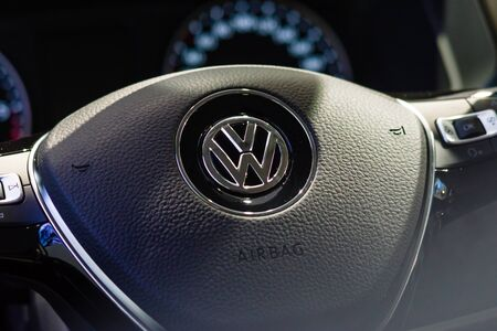 t5: BERLIN - AUGUST 08, 2015: Showroom. Steering wheel of a light commercial vehicle Volkswagen Transporter (T5). Produced since 2010. Editorial