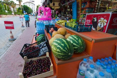 AVSALLAR, TURKEY - JULY 03, 2015: Minimarket in the tourist area.