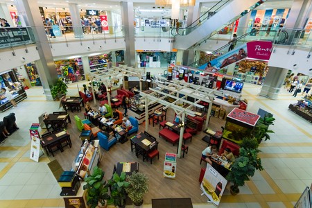 city centre: ALANYA, TURKEY - JULY 04, 2015: Shopping and Entertainment Centre - Alanyum. Alanya - is a popular tourist destination on the Mediterranean. Editorial