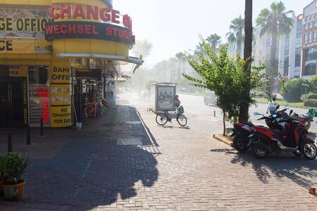 currency exchange: ALANYA, TURKEY - JULY 04, 2015: Currency exchange at Ataturk Avenue. Alanya - is a popular tourist destination on the Mediterranean. Editorial