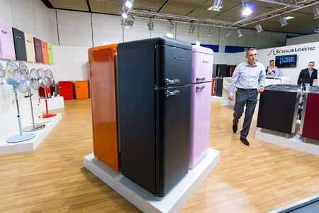 BERLIN - SEPTEMBER 04, 2015: Stand of company Schaub Lorenz and prototypes of refrigerators in retro style .. International radio exhibition Berlin (IFA). Editorial