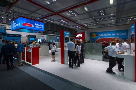 routers: BERLIN - SEPTEMBER 04, 2015: Stand of company AVM, producer of popular routers Fritz! Box. International radio exhibition Berlin (IFA)