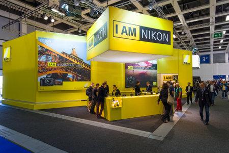 BERLIN - 4. SEPTEMBER 2015: Stand von Nikon. Internationale Radioausstellung Berlin (IFA2015).