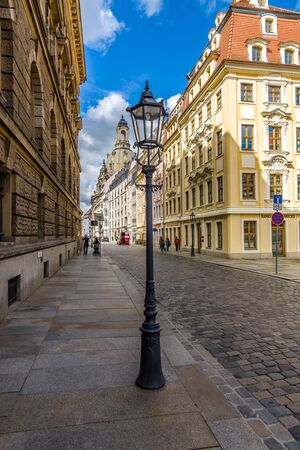 frauenkirche: DRESDEN, GERMANY - SEPTEMBER 09, 2015: The streets of the old town. In the background Frauenkirche. Dresden is the capital of Saxony.