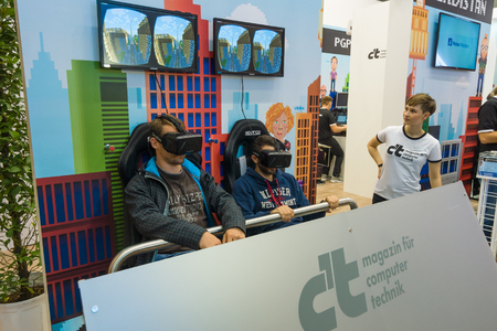 BERLIN - SEPTEMBER 04, 2015: Stand for testing virtual reality equipment, Oculus Rift. International radio exhibition Berlin (IFA)