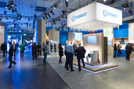 exhibitions: BERLIN - SEPTEMBER 04, 2015: Stand of company Indesit. International radio exhibition Berlin (IFA). Editorial