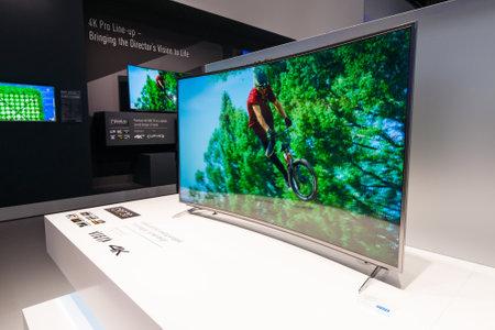 announced: BERLIN - SEPTEMBER 04, 2015: Stand of Panasonic. Panasonic announced new OLED TVs. International radio exhibition Berlin (IFA2015).