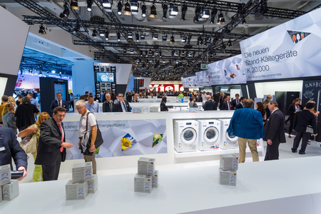 exhibition stand: BERLIN - SEPTEMBER 04, 2015: Stand of manufacturer of household appliances Miele. International radio exhibition Berlin (IFA2015).