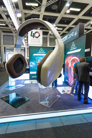 acoustic systems: BERLIN - SEPTEMBER 04, 2015: Stand of company manufacturer of acoustic systems Magnat. International radio exhibition Berlin (IFA2015).